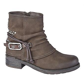 Ladies Womens Low Block Heel Inside Zip Buckle Ankle Boots Shoes