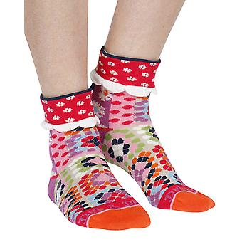 Patchwork women's cotton turn-over crew socks in red | Dub & Drino
