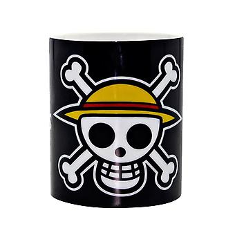 One Piece XL Tasse -Luffy's Pirates- weiß, bedruckt, aus Porzellan, Fassungsvermögen ca. 460 ml.