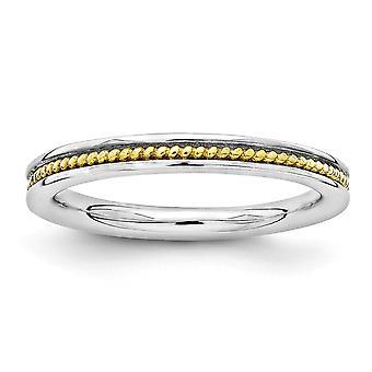 2,25 mm zilver Rhodium-plated stapelbare expressies goud-flitste gekanaliseerd Ring - Ringmaat: 5 tot en met 10