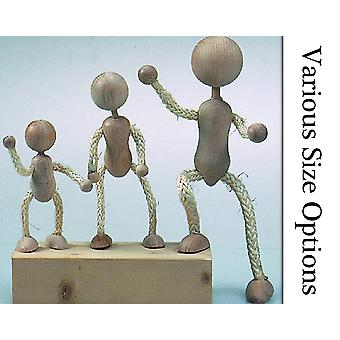 Great for Crafts Wood and Rope Figures with Poseable Limbs - 110mm - 230mm