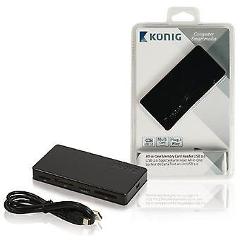 König CSU2ACR200BL all-in-1 Usb 2.0 lecteur de cartes mémoire