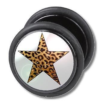Fake Cheater Ear Plug, Earring, Body Jewellery, Leopard Star
