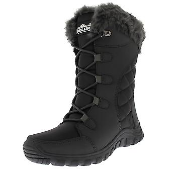 Womens Quilted Lace Up Grey Outdoor Fur Lined Cuff Snow Rain Duck Boot UK 3-10