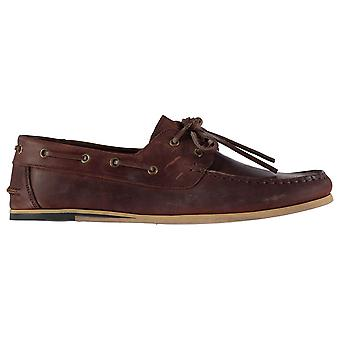Firetrap Mens Avisos Boat Shoes Lace Up Classic Stitched Detailing Leather