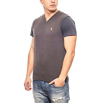 U.S. POLO ASSN. Vests men's grey slim fit knit pullovers