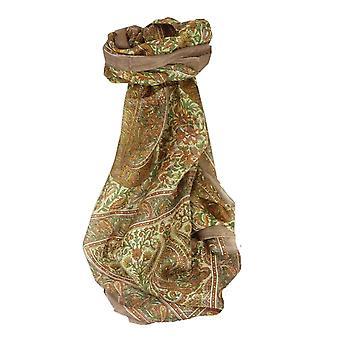 Gelso seta tradizionale lunga sciarpa Purna Caramel di Pashmina & seta