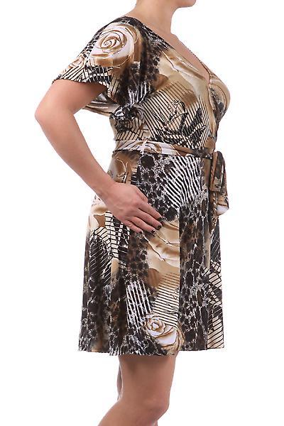 Waooh - Mode - Robe courte «Marina » Marron - Imprimé fleur