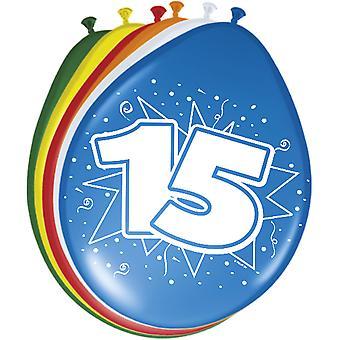 Fargerike ballonger ballongen nummer 15 bursdagsselskap 8 St. dekorasjon ballonger