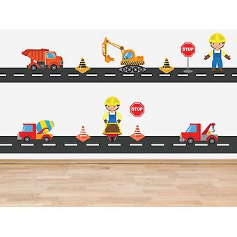 Full Colour Construction Vehicle Theme Set of 14 Stickers