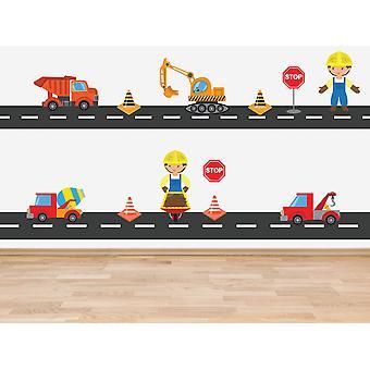 Полный цвет конструкции транспортного средства тема набор 14 наклеек