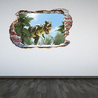 Full Colour Dinosaur Trex Smashed Wall 3D Effect Wall Sticker