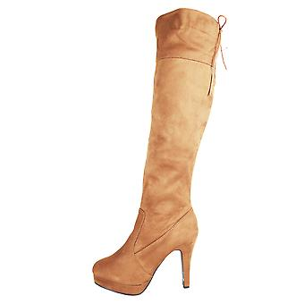 Lovemystyle Heeled Knee High Boots In Brown Faux Suede