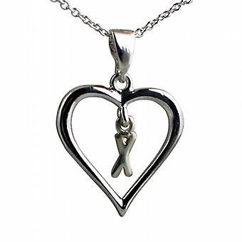 Zilveren 18x18mm eerste X in een hart hanger met een rolo ketting 18 inch