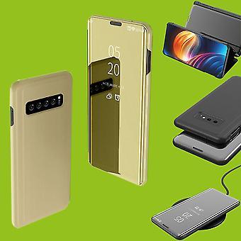For Samsung Galaxy S10 Lite / S10E G970F 5,8 tommers klar utsikt speil smart dekker gull veske hylse våkner