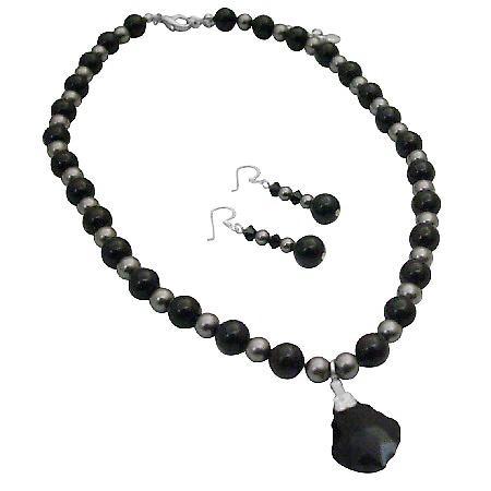 Mystic Swarovski Jet Pearls Dark Grey Pearl Heart Pendant Necklace Set