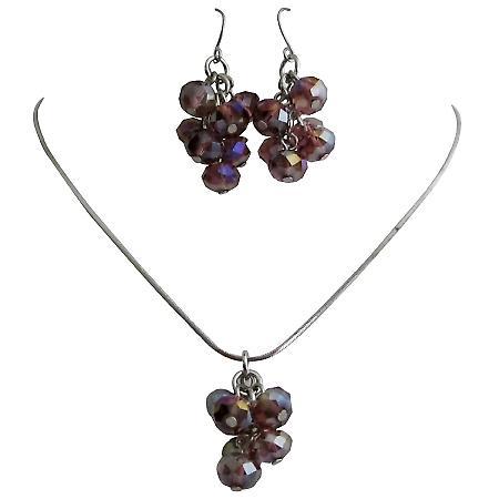 Girls Return Gift Amethyst Beads Pendant Earrings Jewelry Set