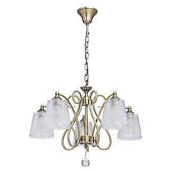 Glasberg - laiton Antique cinq pendentif lumineux avec des nuances en verre texturé et cristal Decor 372013205