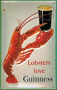 Lobsters Love Guinness embossed metal Sign   (hi 2030)