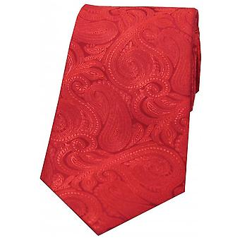David Van Hagen luxo Paisley gravata de seda - vermelho