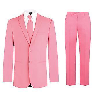 Mens Candy roze 2 stuk kostuum Regular Fit Notch revers nieuwigheid Partywear door d/sprak