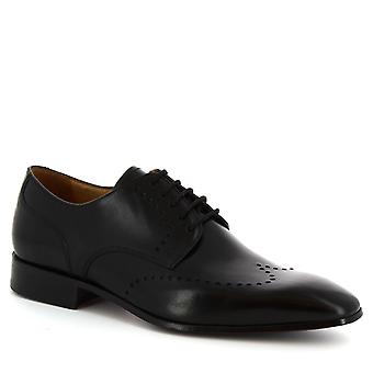 Leonardo Shoes Men's handmade half brogues shoes in black calf leather