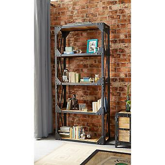 Milano Industrial Metal & Wood Large Bookcase