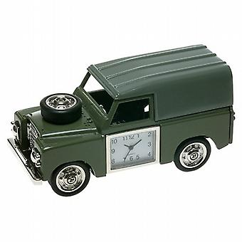 Miniature Four-Wheel Drive 4-X-4 Green Novelty Desktop Collectors Clock 0475