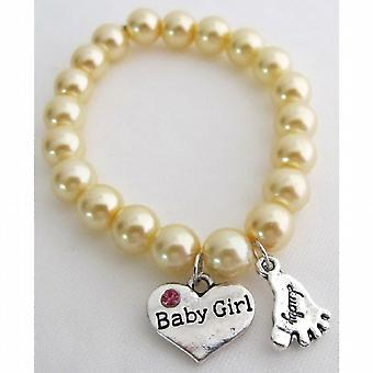 Lucky Foot Jewelry Baby Girl Bracelet Yellow Pearls Bracelet