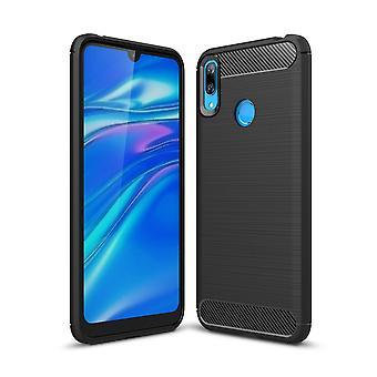 Huawei Y7 2019 TPU Case Carbon Fiber Optics Brushed Protection Case Black