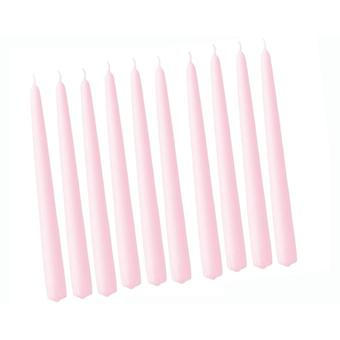 10 Light Pink Unscented Tapered 29cm Dinner Candles