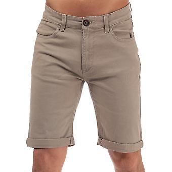 Mens Crosshatch Black Label Cottrell Chino Shorts In Stone- Zip Fly- Turn Up