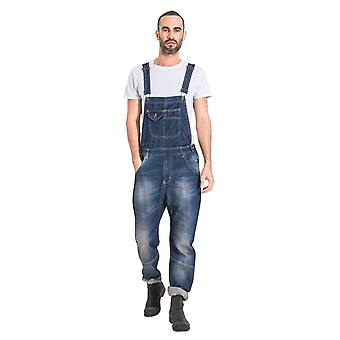 Mens relaxed fit organic denim dungarees dark wash