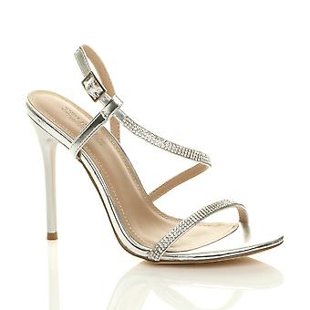 Ajvani Womens high heel diamante barely there strappy evening sandals
