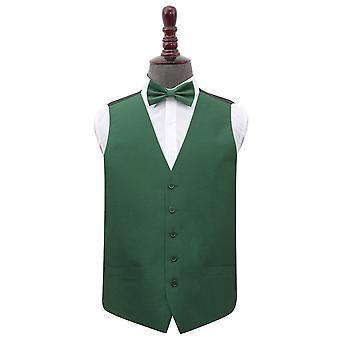 Emerald Green Shantung Wedding Waistcoat & Bow Tie Set