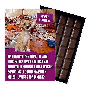 Chihuhua śmieszne prezenty urodzinowe dla miłośnika psów w pudełku czekolada powitanie karty prezent