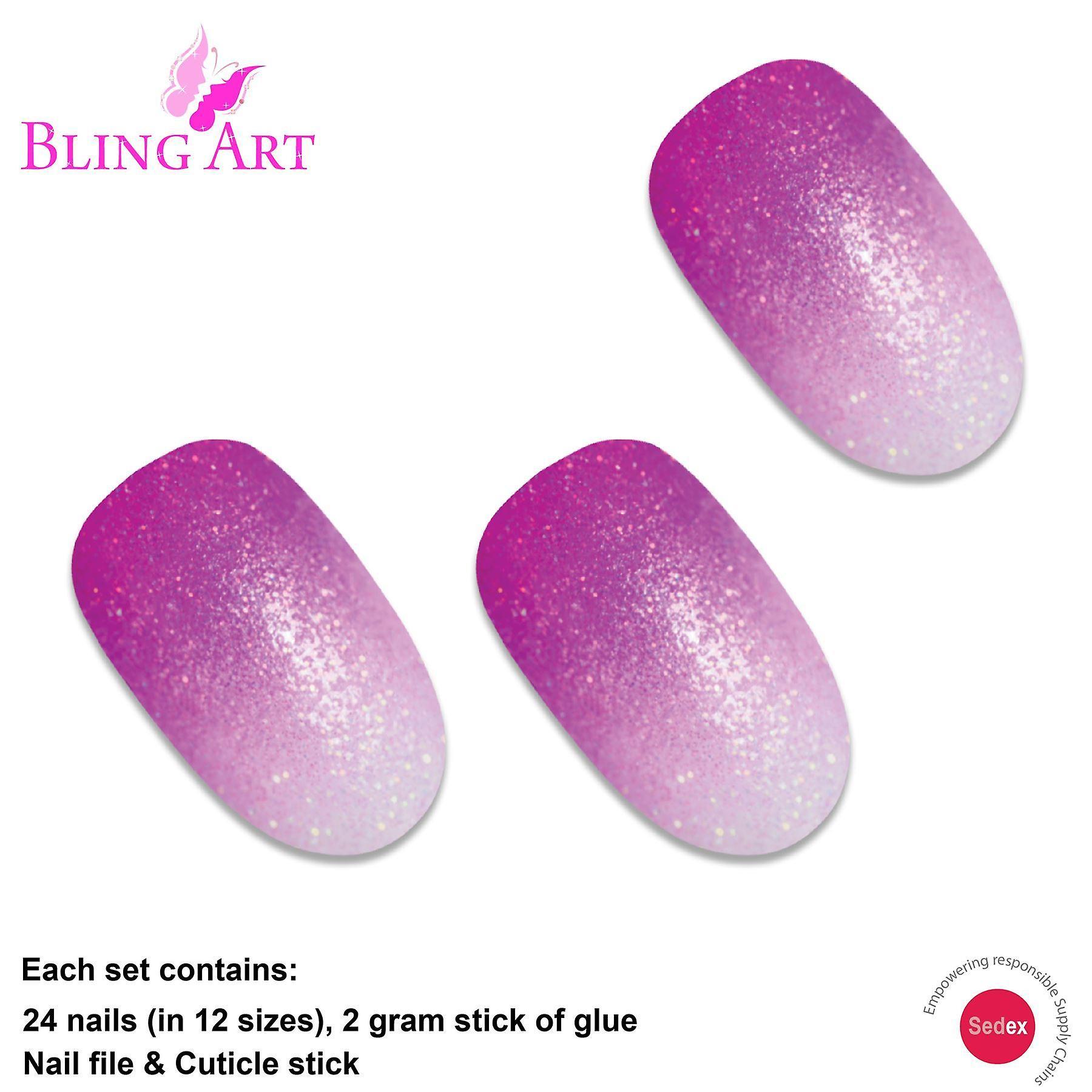 False nails by bling art magenta gel ombre oval medium fake acrylic 24 tips