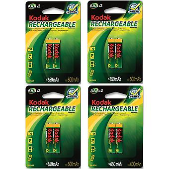 8x Kodak rechargeable AAA battery NiMH  650 mAh batteries
