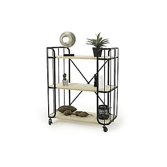 LIFA LIVING Stable serving trolley with wheels, made of wood and black metal, with wheels and 3 floors and brake, vintage style, black and natural wood color