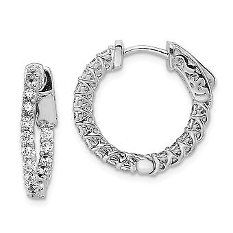 925 Sterling Silver Polished Prong set Hinged hoop Safety clasp Rhodium-plated Cubic Zirconia Round Hoop Earrings