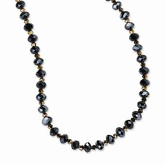 Black Plating Fancy Lobster Closure Black-plated Dark Brown Crystal Bead 16 Inch With ext Necklace