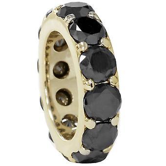 12 1 / 2ct Black Diamond ikuisuus rengas 14K keltakultaa