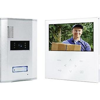 Video door intercom Corded Complete kit Smartwares VD71W SW Detached Aluminium , White