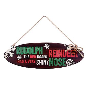 Hanging Oval Wooden Christmas 'Rudolph the Red Nosed Reindeer' Lyric Sign