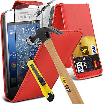 i-Tronixs Samsung Galaxy Ace 4 Neo PU Leather Flip Case + Vetro Screen Protector-rosso