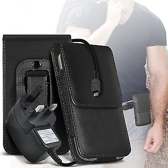 (Black) Case For iDECT Smart 64 PU Leather Belt Clip Pouch Holster + 3 pin chargeriDECT Smart 64 Cover By i-Tronixs