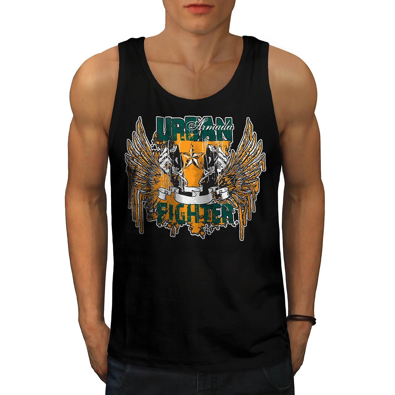Urban Fighter Gangster Men Black Tank Top | Wellcoda
