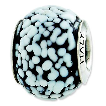 Sterling Silver Reflections White Black Italian Murano Glass Bead Charm