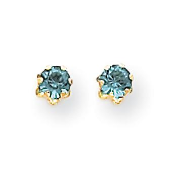 14k Yellow Gold 4mm Synthetic Blue Topaz (Dec) Screwback Earrings - Measures 4x4mm