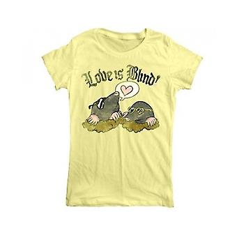 Goodie Two Sleeves Love Is Blind Animals Mole Heart Womens Tshirt Yellow